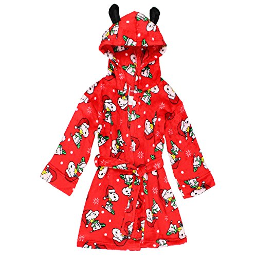 Peanuts Snoopy Girls Fleece Hooded Bathrobe Robe (Large / 10-12, Red)