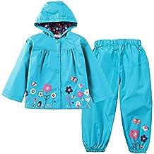 LZH Kids Girls Raincoat Waterproof Toddler Coat Jacket Suit Hoodies With Pants