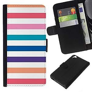 Playa Blanca Líneas en colores pastel colorido- la tarjeta de Crédito Slots PU Funda de cuero Monedero caso cubierta de piel Para HTC Desire 820