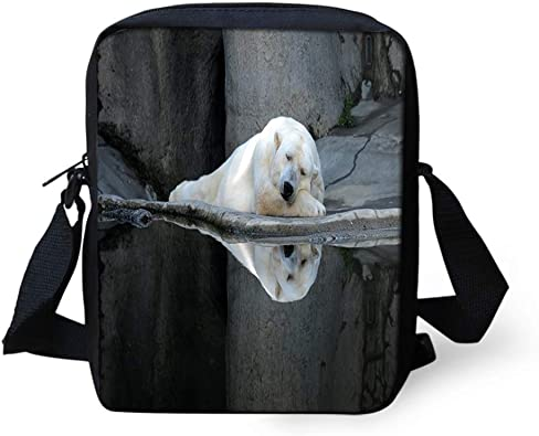 Animal Polar Bear on Rock Cross Body Shoulder Messenger Laptop Bag