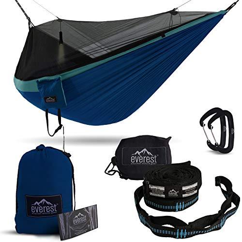 Double Camping Hammock - Everest | Bug & Mosquito Free Camping & Outdoor Hammocks Tent Reversible Integrated Bug Net Lightweight Ripstop Nylon - Light Blue/Dark Blue/Net Black
