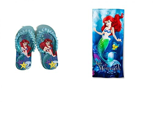 ddf15322464ad Disney Girl s Little Mermaid Ariel Flip Flop Sandals Plus Beach Towel (2 3)
