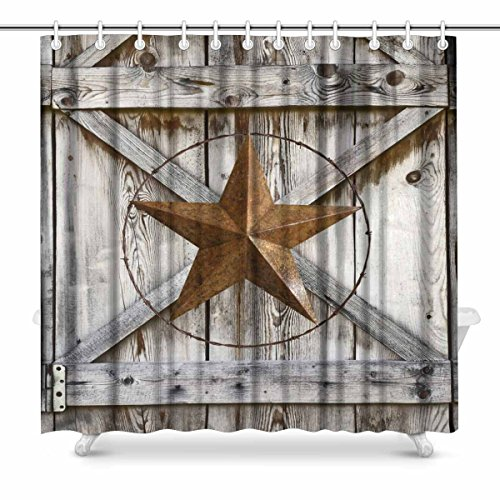 - InterestPrint Western Texas Star on Rustic Old Barn Wood House Decor Shower Curtain for Bathroom, Decorative Bathroom Shower Curtain Set with Rings, 72(Wide) x 72(Height) Inches