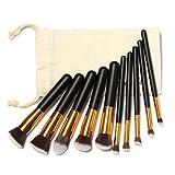 Yoyorule 10 Pcs Makeup Brushes Set Makeup Brushes Kit Draw String Makeup Bag (Gold)