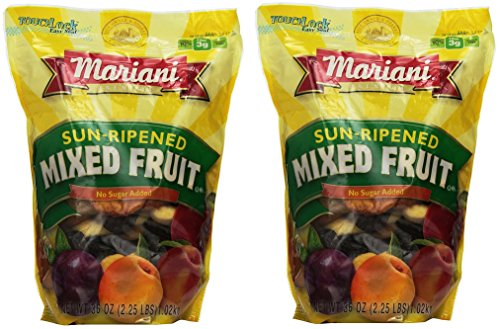 Mariani pbZkab Sun Ripened Mixed Fruit No Sugar Added Dried Fruit, 36 Ounce (2 Pack) by Mariani