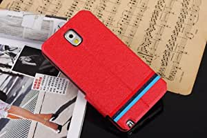 Free Shipping Generic Fashionable Red Color Leather Flip Case Cover For Samsung Galaxy Note 3 N9005, N9002, N9006 D