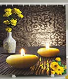 Ambesonne Resort Spa Zen Home Decor by, Picture Print with Candles White Vase Marigold Flowers Wooden Table, Asian Japanese Art, Polyester Fabric Bathroom Shower Curtain, Yellow Brown Gray