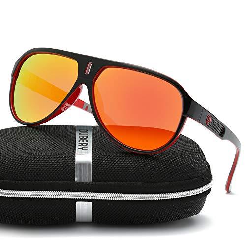 e163710495709 DUBERY Polarized Sunglasses Classic 100% UV Protection Reflective Color  Mirror Large Square for Men Women Red