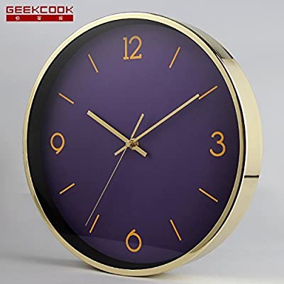 12 inches,Purple noodles Metallic Unique Creative Wall Clock Large Numbers Cartoon For Living Room Kitchen Kids Teenager Bedroom Wall Art Decor Wedding Birthday Party Gift