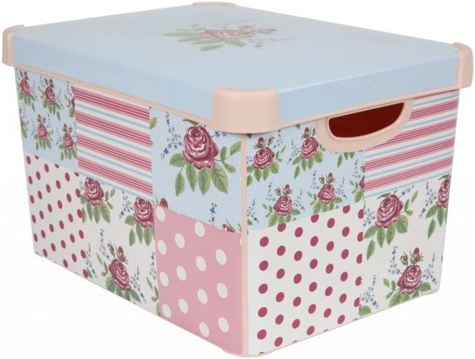 Curver 212966 22 Litre Large Plastic Stockholm Deco Patchwork Storage Box, Pink