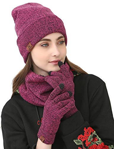 - Maylisacc Winter Knit Hat Glove Scarf Set Women Slouchy Beanie Neck Warmer Touchscreen Guantes Rose