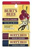 Burts Bees 100% Natural Lip Balm, Wild Cherry and Vanilla Bean Blister Box, 0.3 Ounce, 2 Count