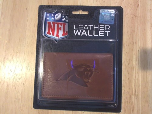 NFL Carolina Panthers Leather Trifold Wallet with Man Made Interior (Carolina Wallet Fold Tri Panthers)