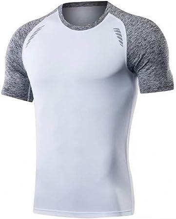 Guohailang Deportes para Hombre Camisas For Hombre Ligero en Blanco de Manga Corta básica de la Camiseta Camisa Camiseta Corta T-Top Ejecución de la Aptitud del Entrenamiento atlético: Amazon.es: Hogar