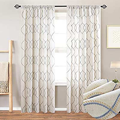 jinchan Linen Textured Tier Curtains Rod Pocket Flax Linen Blend Tier Curtains for Living Room Window Treatments 2 Panels 24 L White