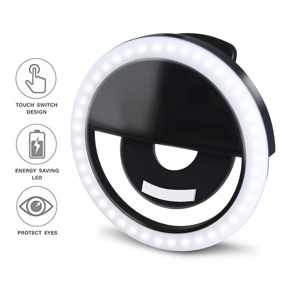 Makeup Mirrors Smart Phones GLOUE Selfie Light Ring Led Circle Clip-on Selfie Fill Light with 36 Led Bubbles USB Rechargeable Portable for iPhone Pads Black, 1 Pack