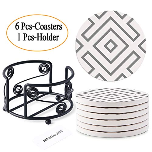 (Absorbent Stone Coasters with Metal Holder-set of 6-4
