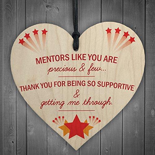 RED OCEAN Thank You Mentor Teacher Midwife Tutor Gift Hanging Wooden Heart...