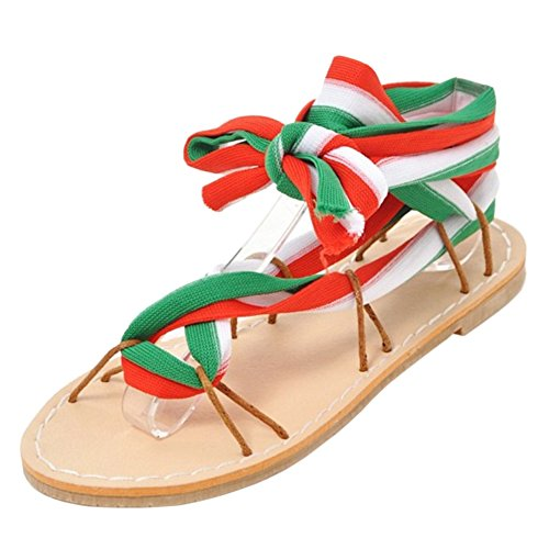 Piatto TAOFFEN Tacco Red Scarpe white Sandali Donna Bw4q5xgwZ