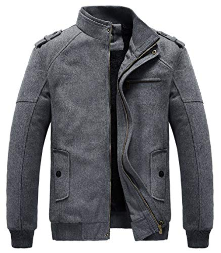 (RongYue Men's Fashion Pea Coat Wool Blend Military Jacket With Shoulder Straps, Gray US M(Asia)