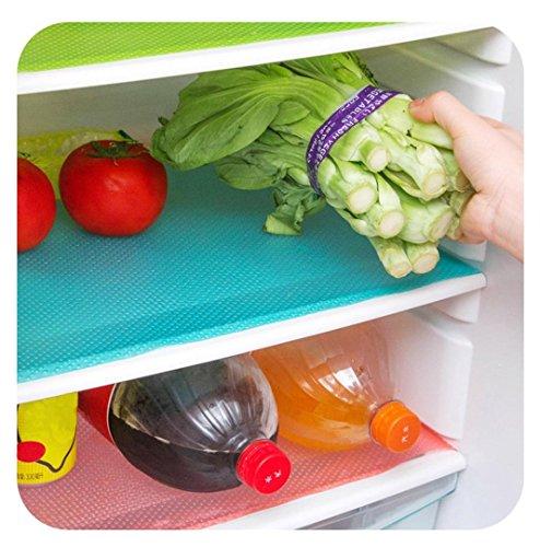 Kemilove 4 Pack Refrigerator Pad Antibacterial Antifouling Mildew Moisture Absorption Pad Mat Table