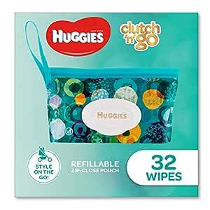 HUGGIES Baby Wipes Refillable Clutch `N' Go, 32 Wipes