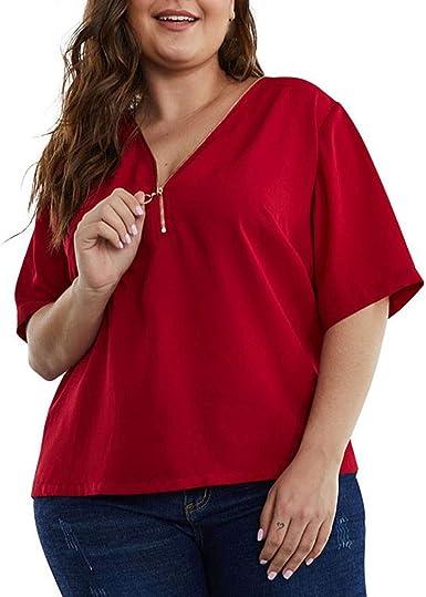 Amlaiworld Blusa Mujer Tallas Grandes Sexy, Camisa Manga Corta Mujer Gasa Tallas Grandes Mujeres con Cuello en V y Blusa con Cremallera Tops Camiseta Blusa Casual para Mujer Tops Pullover: Amazon.es: Ropa