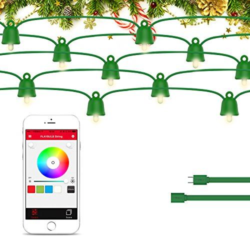 PLAYBULB 16ft/5m Waterproof Smart Led Extension Pack String Lights, Color Changing LED Lighting Chains Conrtol via Smartphone App, USB/Battery Powered - for Xmas, Wedding, Patio, Christmas, Party,