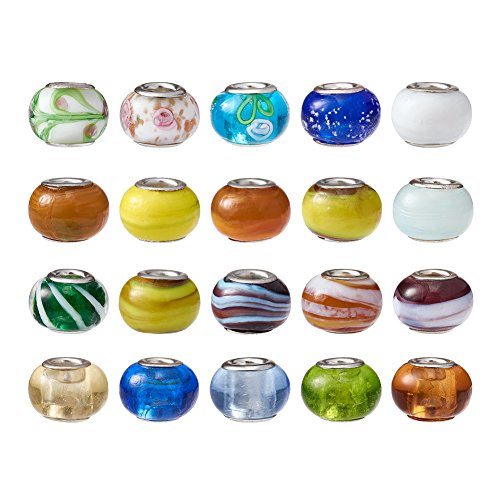 Pandahall 100pcs Glass Lampwork European Beads Large Hole Beads Bracelet Rondelle Slide Charms with Metal Cores Jewelry Makings Mixed Style 14~16mm ()