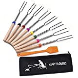 ME.FAN™ Marshmallow Roasting Sticks - Telescoping Smores Skewers & Campfire Hot Dog Forks - Set of 8 Camping Accessories Travel Grill 32 In - FREE Canvas Pouch + Silicone Basting Brush
