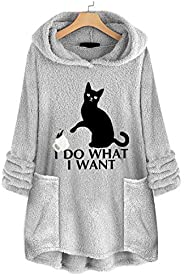 EISHOW Womens Casual Sweatshirt Coat Winter Warm Fleece Long Sleeves Overcoat Plus Size Sweater Top Blouse Hoo