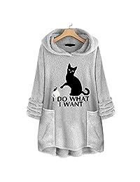 EISHOW Womens Casual Sweatshirt Coat Winter Warm Fleece Long Sleeves Overcoat Plus Size Sweater Top Blouse Hoodies Pockets