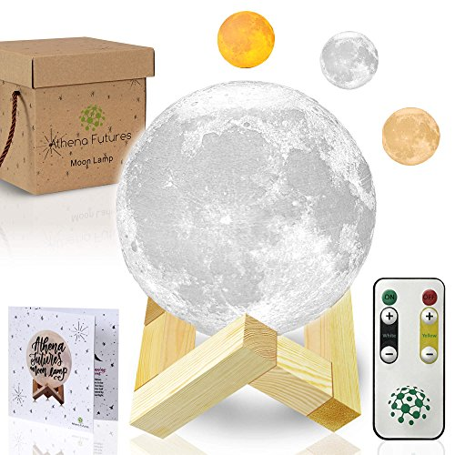 3D Moon Lamp - 3 Color Moon Night Light with Stand - Mood Lamp Book, Globe, Cool Lamp, 3.9 in, USB Charging (3.9 inch 3 Color) ()