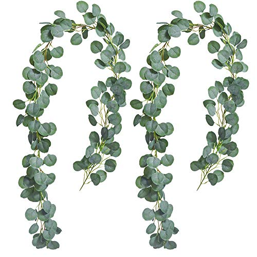 12' Eucalyptus Garland,Artificial Eucalyptus Garland Eucalyptus Leaves Eucalyptus Wreath for Wedding Parties,Table Centerpieces Decor,Each Piece 6 Ft with 148Pc Leaves,(Set of 2)