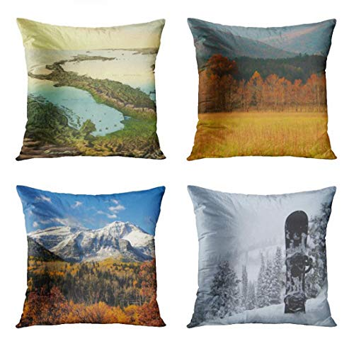 ArtSocket Set of 4 Throw Pillow Covers Peninsula Vintage 3D Map of Italy 19Th Century Islands Anna USA Tennessee Decorative Pillow Cases Home Decor Square 16x16 Inches Pillowcases ()