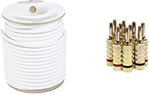 AmazonBasics Speaker Wire - 12-Gauge, 99.9% Oxygen-Free Copper, 100 Feet & Monoprice Gold Plated Speaker Banana Plugs – 5 Pairs – Closed Screw Type, for Speaker Wire, Home Theater, and More