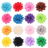 PET SHOW 2'' Plain Pet Collar Flowers Small Dogs Cats Puppies Collar Charms Bows Bulk Pack of 16