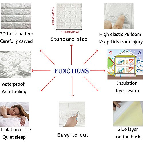 10 PCS 3D Brick Wall Stickers Self-Adhesive Panel Decal PE Wallpaper,Peel and Stick Wall Panels for TV Walls,Living Room Bedroom Sofa Background Wall Decor by Yokstore (Image #1)