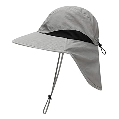 Shybuy Baby Boys Girls Sun Hat Toddler Adjustable Summer UPF 50+ Sun Protection Beach Flap Hat with Wide Brim Gray: Clothing