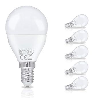 Hengda 3W P45 Bombilla LED esférica E14 ,equivalente a 25W, Blanco frío 6500K,