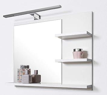 Domtech Miroir De Salle De Bain Avec Etageres Et Eclairage Led Blanc P