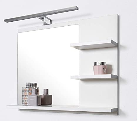 DOMTECH - Specchio da bagno con mensola, illuminazione a LED, colore ...