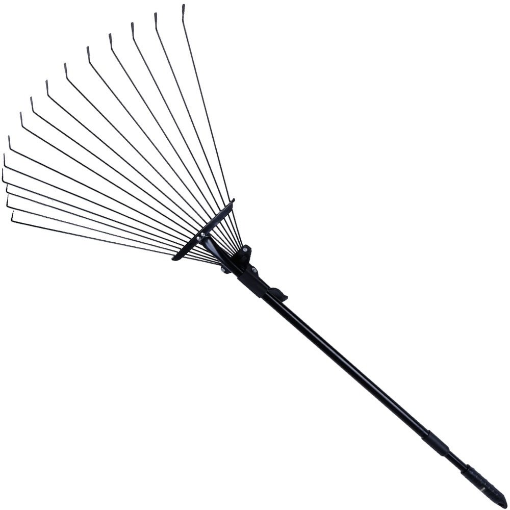 63 Inch Adjustable Garden Leaf Rake, Rovtop Steel Leaf Rake from 30-Inch to 63-Inch for Rocks and Heavy Materials