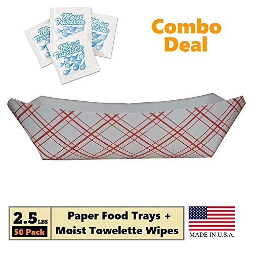 Paper Food Tray, 2.5 lb Red Plaid on White Nacho, Fries, Hot Corn Dogs, Take Out Boat Baskets Holder Container: Grease Resistant Paper Tray Combo Includes 50 Trays + 25 Fresh Nap Moist Towelettes