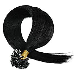 Blonde Hair Extensioon, Grammy 18 inch Long Remy U Nail Tip Human Hair Extensions 50g 100s / Pack Color #60 Light Blonde