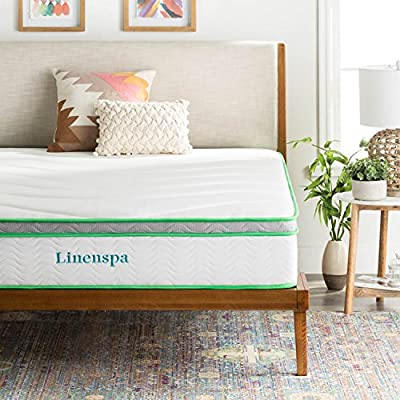Linenspa 10 Inch Latex Hybrid Mattress - Supportive - Responsive Feel - Medium Firm - Temperature Neutral