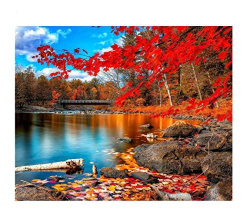 Tutu.vivi Frame DIY Oil Painting Paint by Number Kit- Red Leaf Landscape 16x20 inch Linen Canvas Without -