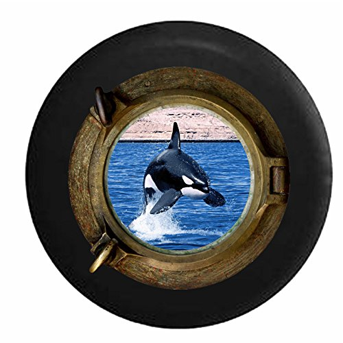 Whale Porthole - Sea Porthole Window - Full Color Killer Whale Orca Jumping in the Ocean Jeep RV Camper Spare Tire Cover Black 35 in