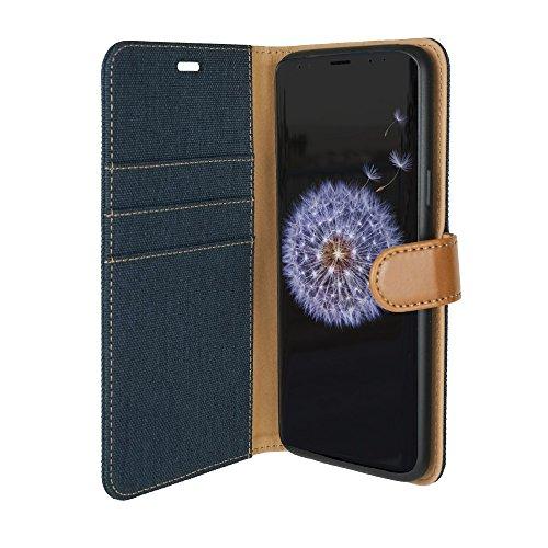 tugamobi Samsung Galaxy S9+ (S9 Plus) Fabric Flip/Wallet [ID/Cash Slot] Case (Blue)