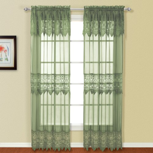 (United Curtain Valerie Lace Sheer Window Curtain Panel, 52 by 63-Inch,)
